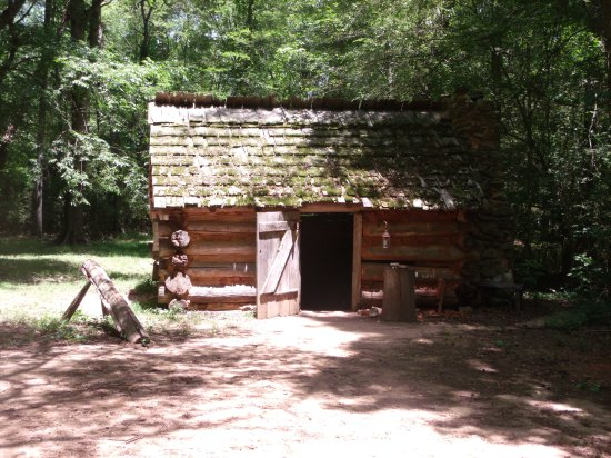 A recreation of a  typical frontier cabin at the time of the Revolutionary War. _ Picture taken at Brattonsville Historical Site in SC
